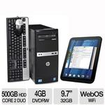 SAVE $150 - HP Desktop PC Intel Core 2 Duo 2.93GHz 4GB DDR3 500GB HDD Win7 Pro 64-bit w/ HP TouchPad 32GB WebOS Tablet Bundle $549.99* after $150 MIR, rebate expires 11/18/2011