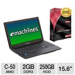 "SAVE $70 - eMachines Notebook - AMD Dual-Core C-50 1.0GHz 2GB DDR3 250GB HDD 15.6"" Win7 Premium 64-bit w/ 10GB Online Backup Bundle $279.99* after $50 MIR, rebate expires 12/31/11"